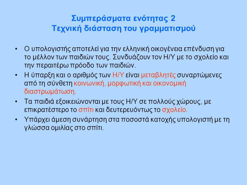 Συμπεράσματα ενότητας 2 Τεχνική διάσταση του γραμματισμού