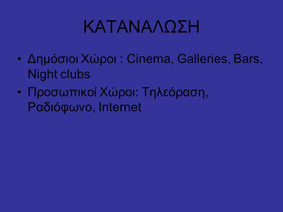 ΚΑΤΑΝΑΛΩΣΗ Δημόσιοι Χώροι : Cinema, Galleries, Bars, Night clubs