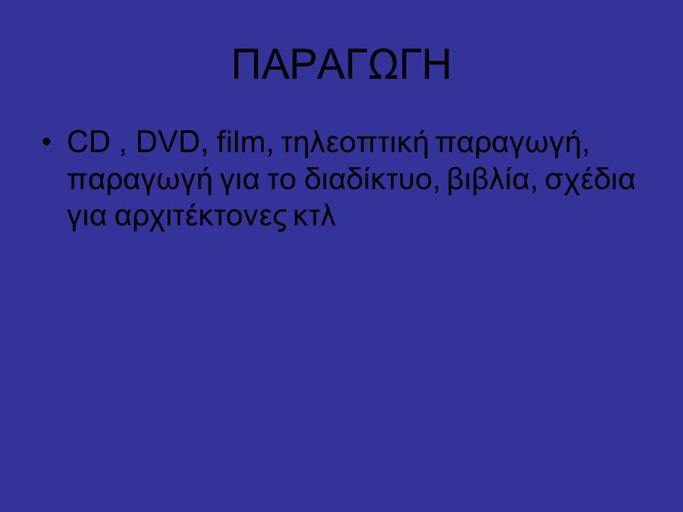 ΠΑΡΑΓΩΓΗ CD , DVD, film, τηλεοπτική παραγωγή, παραγωγή για το διαδίκτυο, βιβλία, σχέδια για αρχιτέκτονες κτλ.