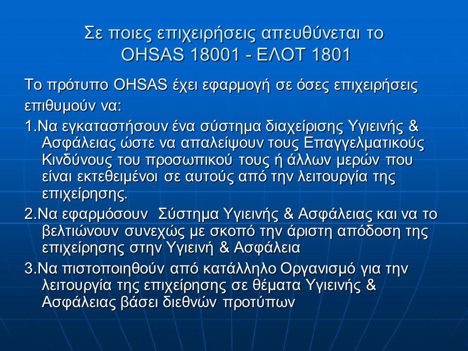 Σε ποιες επιχειρήσεις απευθύνεται το OHSAS 18001 - ΕΛΟΤ 1801