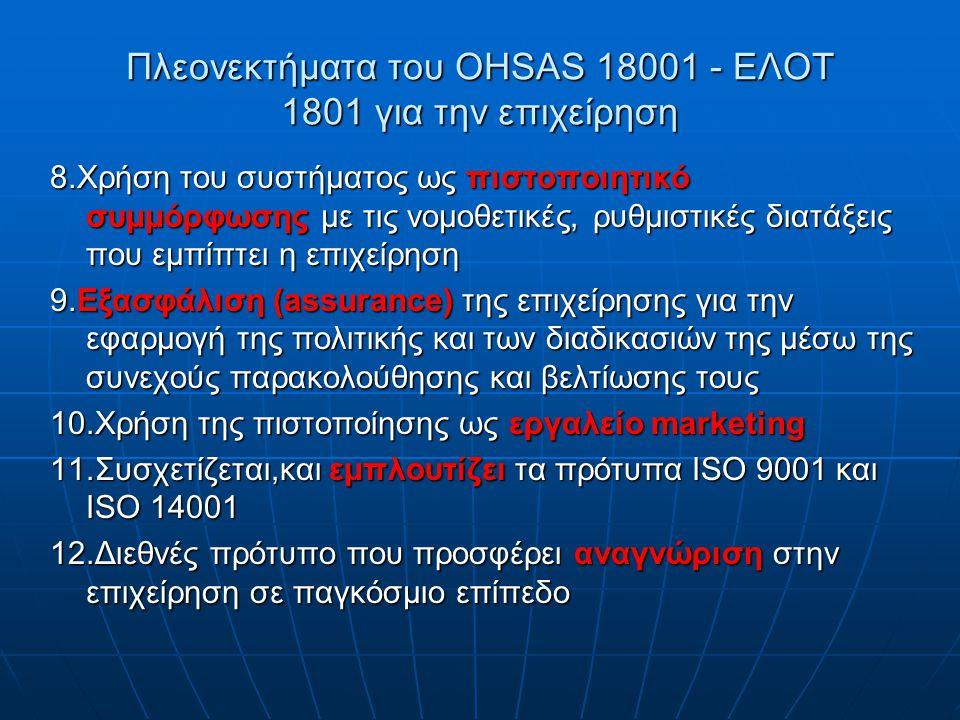 Πλεονεκτήματα του OHSAS 18001 - ΕΛΟΤ 1801 για την επιχείρηση