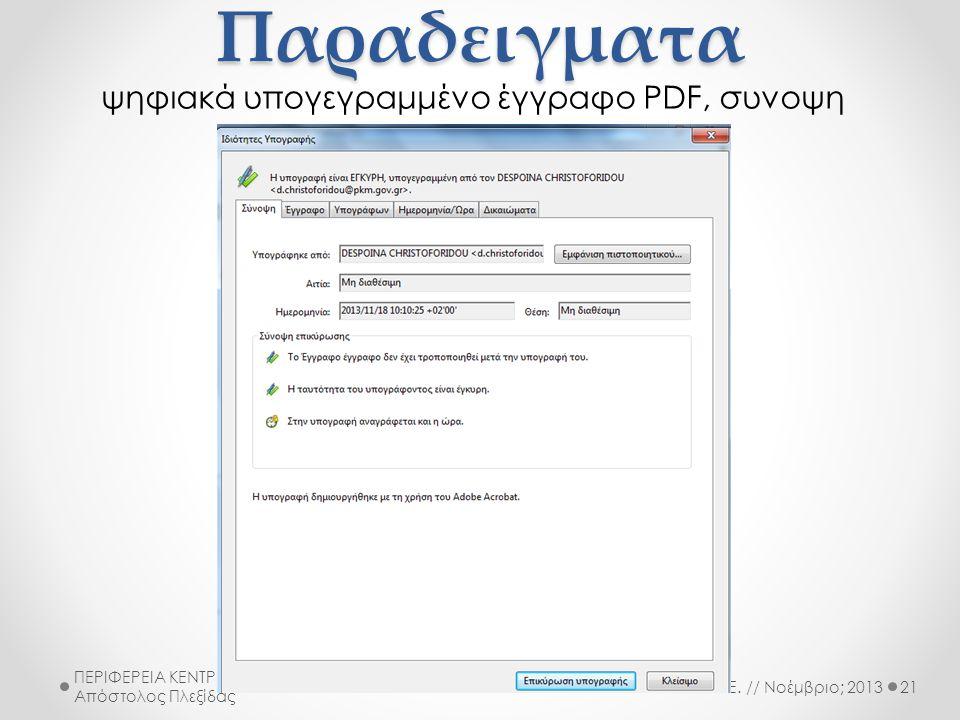 ψηφιακά υπογεγραμμένο έγγραφο PDF, συνοψη