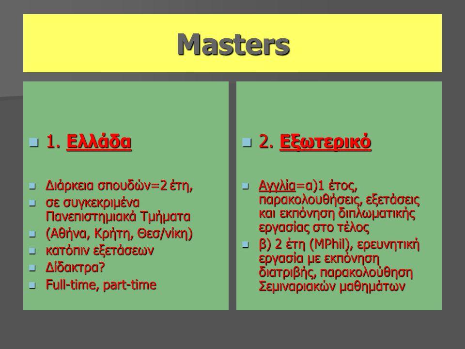 Masters 1. Ελλάδα 2. Εξωτερικό Διάρκεια σπουδών=2 έτη,
