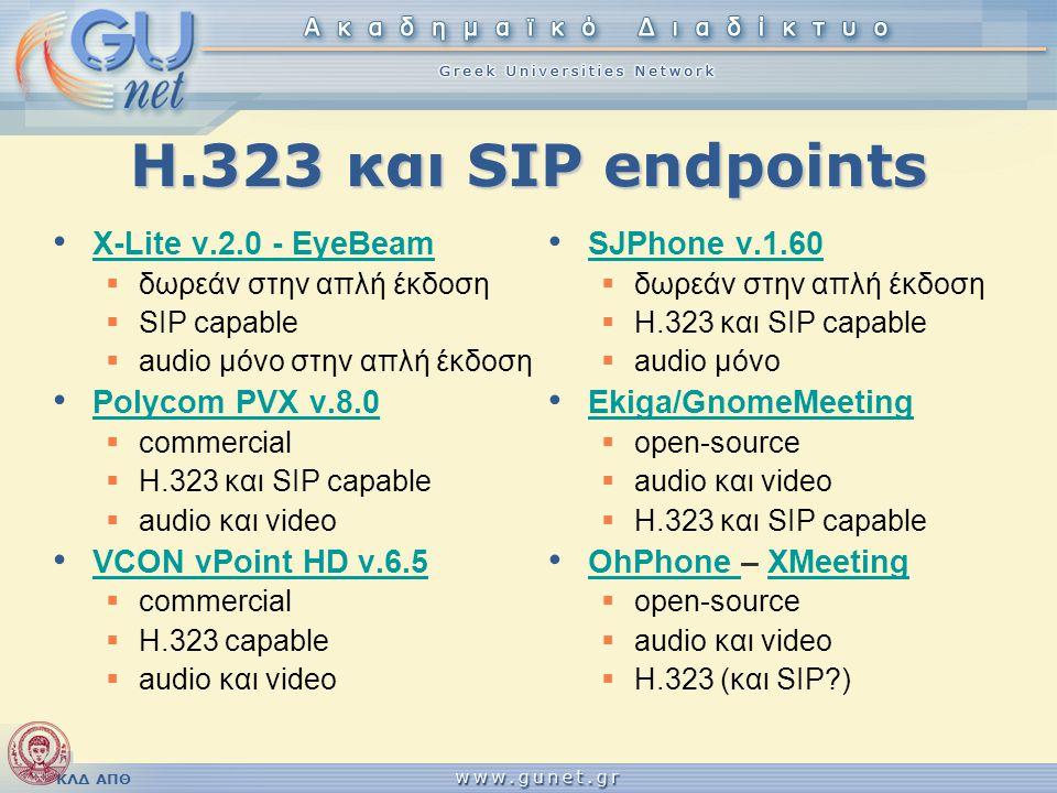 Η.323 και SIP endpoints X-Lite v.2.0 - EyeBeam Polycom PVX v.8.0