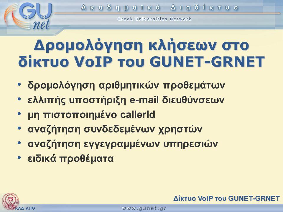 Δρομολόγηση κλήσεων στο δίκτυο VoIP του GUNET-GRNET