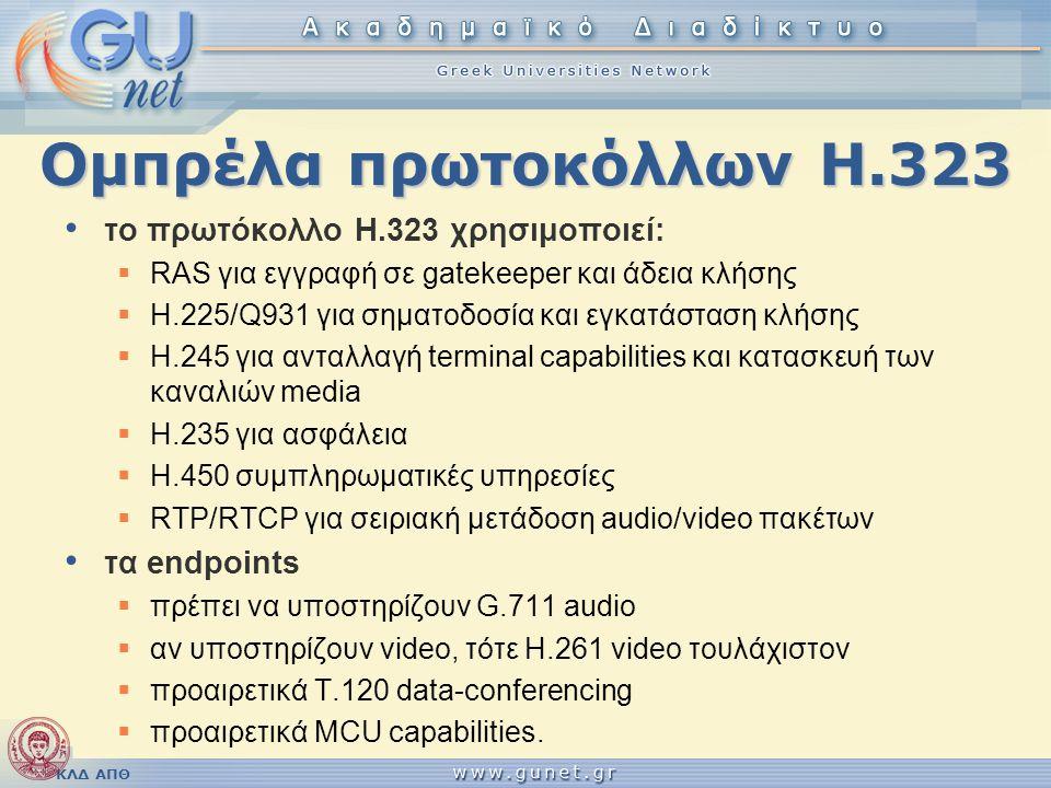 Ομπρέλα πρωτοκόλλων Η.323 το πρωτόκολλο H.323 χρησιμοποιεί: