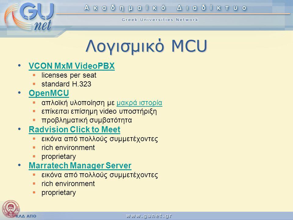 Λογισμικό MCU VCON MxM VideoPBX OpenMCU Radvision Click to Meet