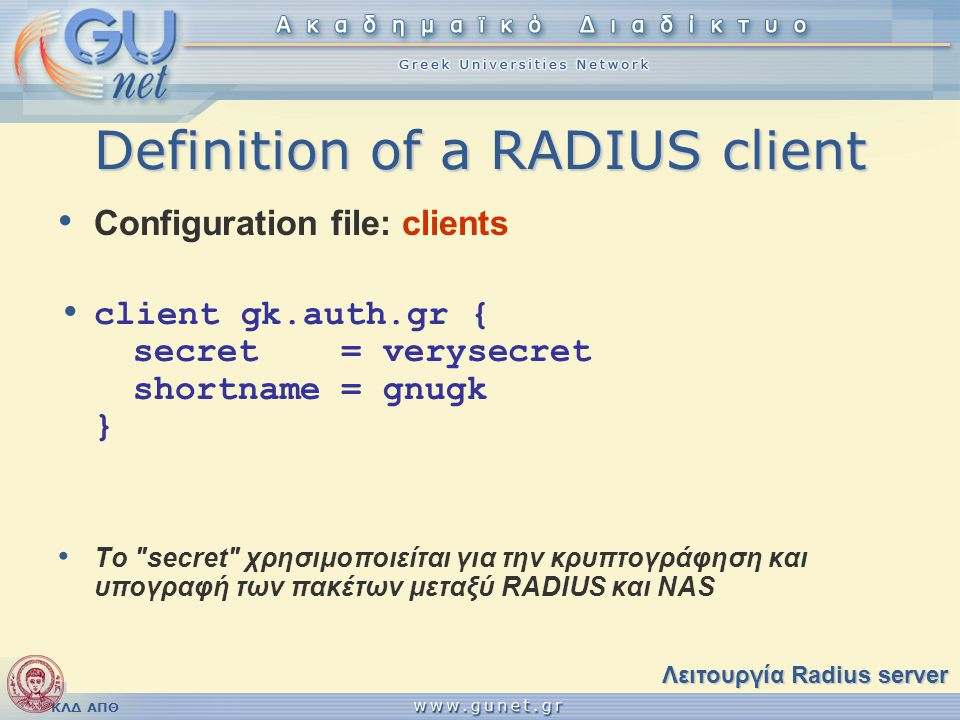 Definition of a RADIUS client