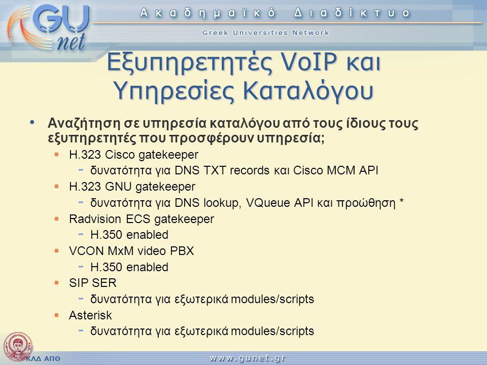 Εξυπηρετητές VoIP και Υπηρεσίες Καταλόγου