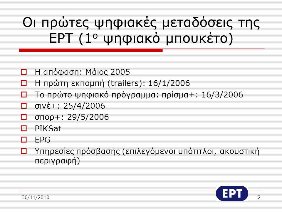 Οι πρώτες ψηφιακές μεταδόσεις της ΕΡΤ (1ο ψηφιακό μπουκέτο)