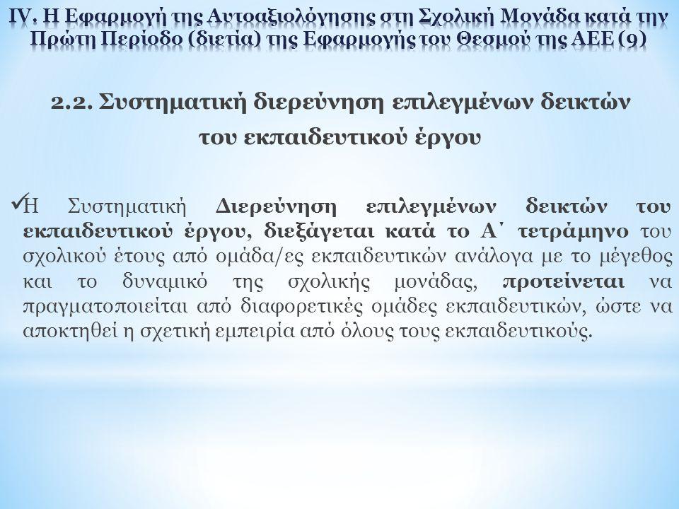 2.2. Συστηματική διερεύνηση επιλεγμένων δεικτών