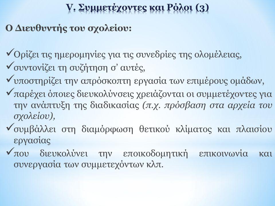 V. Συμμετέχοντες και Ρόλοι (3)