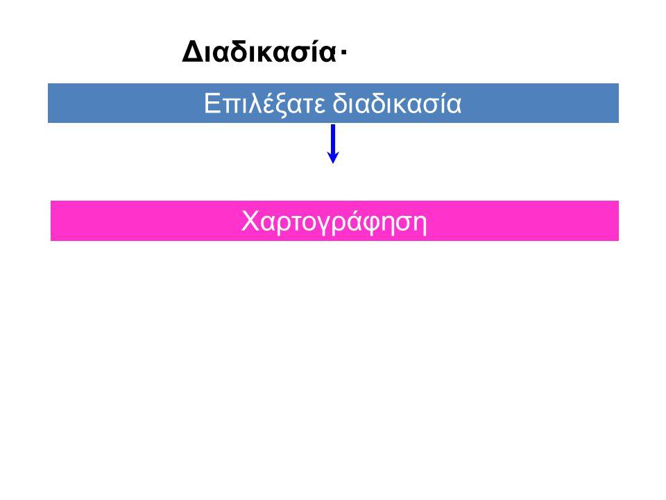 … Διαδικασία Επιλέξατε διαδικασία Χαρτογράφηση 56 4