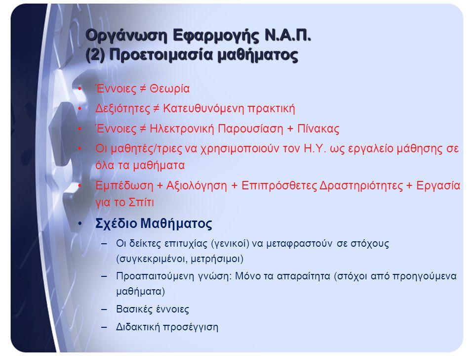 Οργάνωση Εφαρμογής Ν.Α.Π. (2) Προετοιμασία μαθήματος
