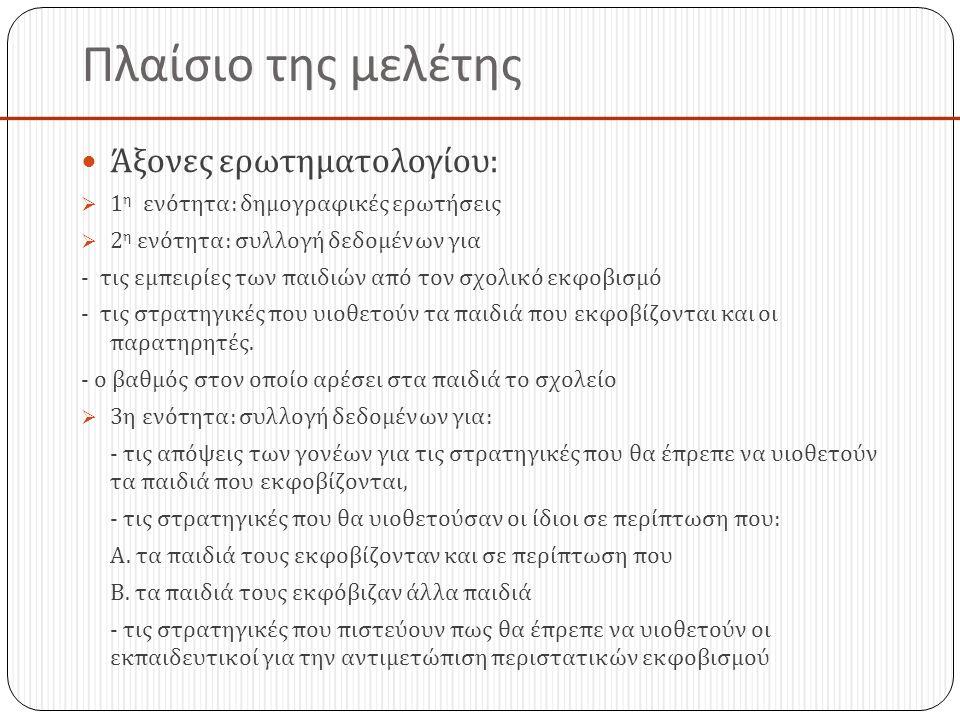 Πλαίσιο της μελέτης Άξονες ερωτηματολογίου: