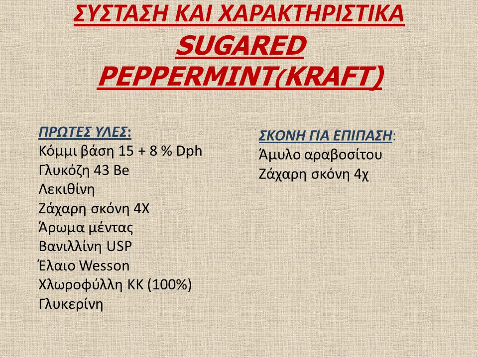 ΣΥΣΤΑΣΗ ΚΑΙ ΧΑΡΑΚΤΗΡΙΣΤΙΚΑ SUGARED PEPPERMINT(KRAFT)