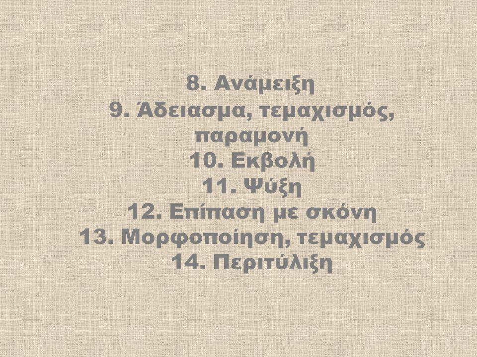 8. Ανάμειξη 9. Άδειασμα, τεμαχισμός, παραμονή 10. Εκβολή 11. Ψύξη 12