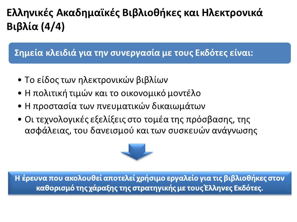 Ελληνικές Ακαδημαϊκές Βιβλιοθήκες και Ηλεκτρονικά Βιβλία (4/4)