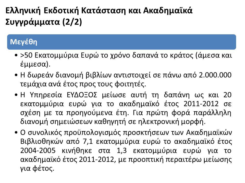 Ελληνική Εκδοτική Κατάσταση και Ακαδημαϊκά Συγγράμματα (2/2)