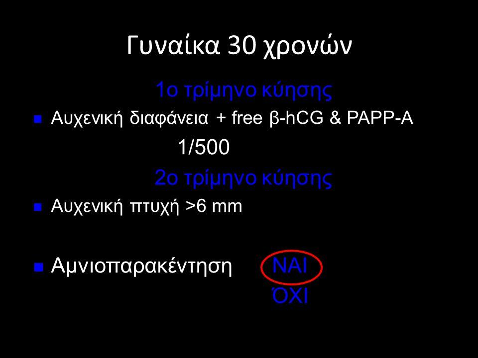 Γυναίκα 30 χρονών 1ο τρίμηνο κύησης 1/500 2ο τρίμηνο κύησης