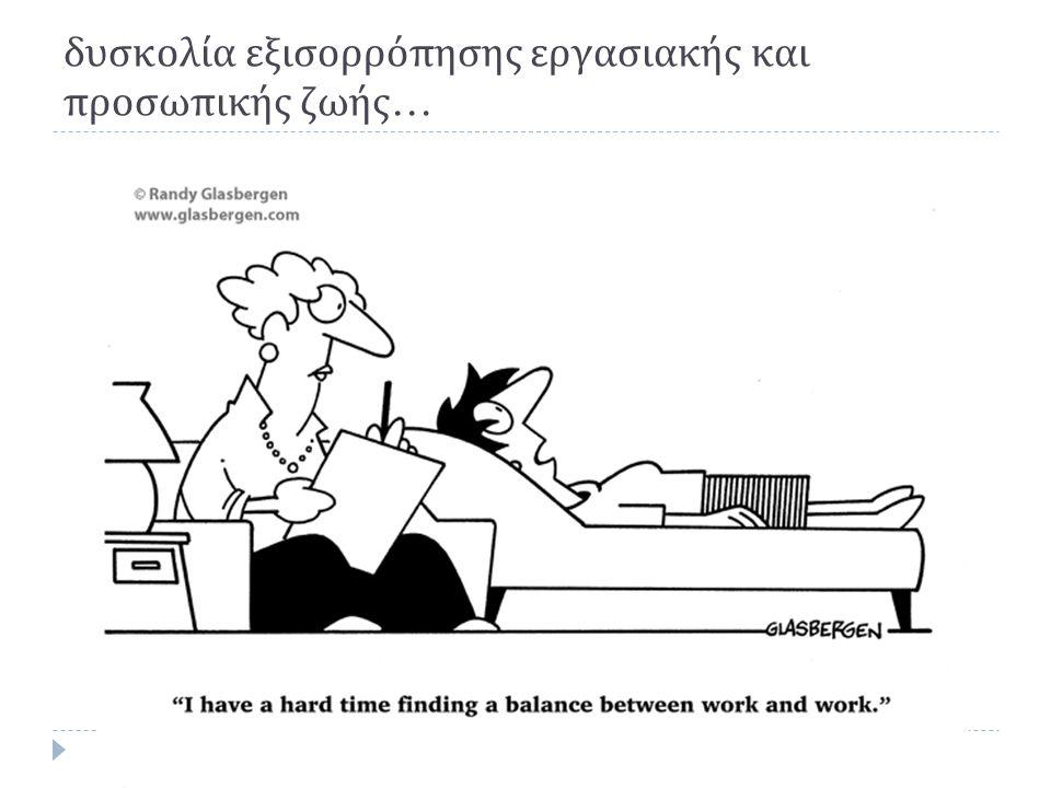 δυσκολία εξισορρόπησης εργασιακής και προσωπικής ζωής…