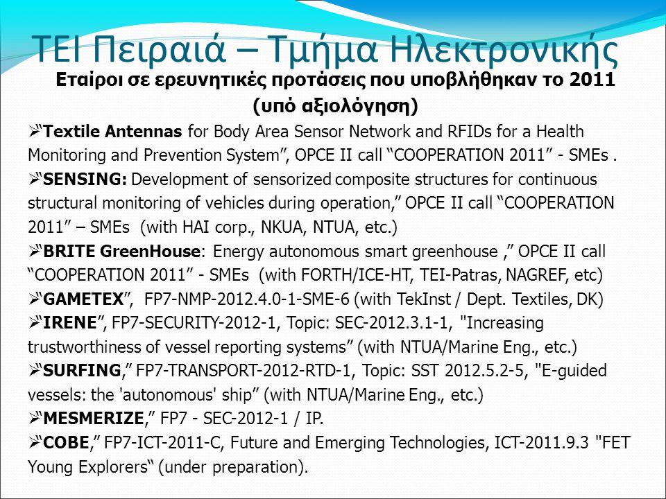 Εταίροι σε ερευνητικές προτάσεις που υποβλήθηκαν το 2011
