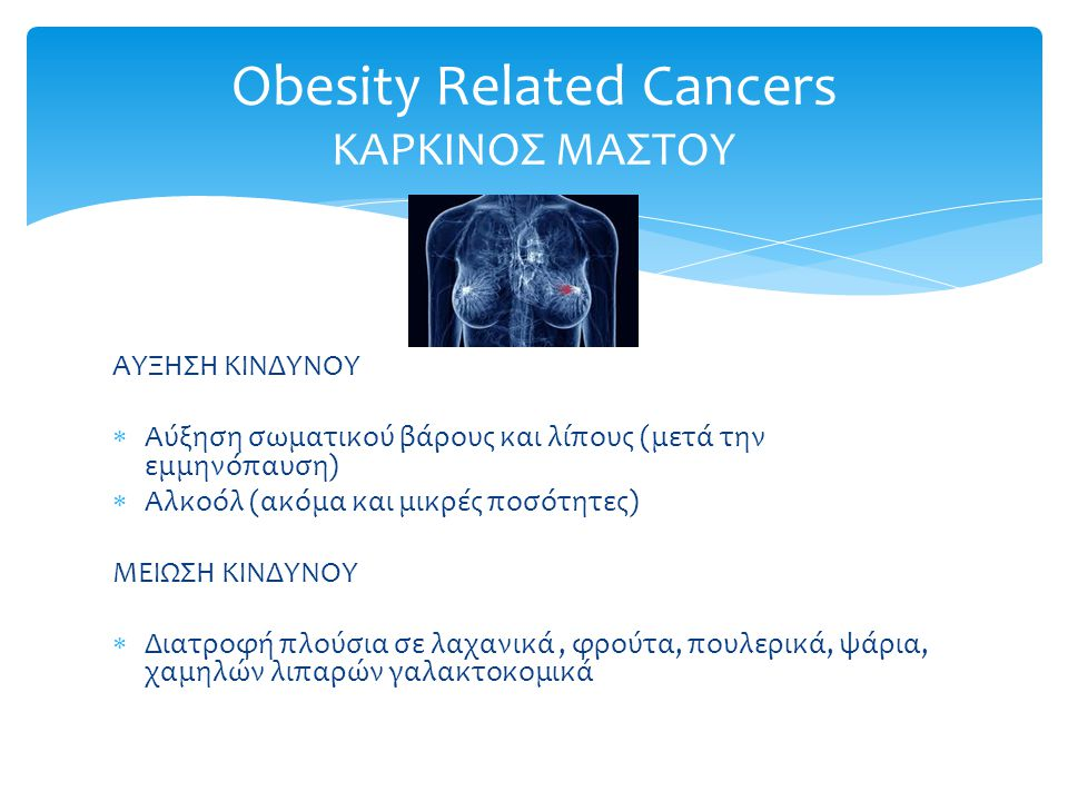 Obesity Related Cancers ΚΑΡΚΙΝΟΣ ΜΑΣΤΟΥ