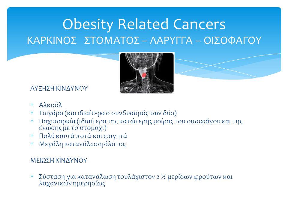 Obesity Related Cancers ΚΑΡΚΙΝΟΣ ΣΤΟΜΑΤΟΣ – ΛΑΡΥΓΓΑ – ΟΙΣΟΦΑΓΟΥ