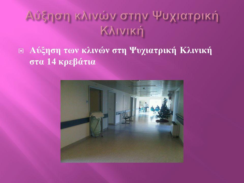 Αύξηση κλινών στην Ψυχιατρική Κλινική