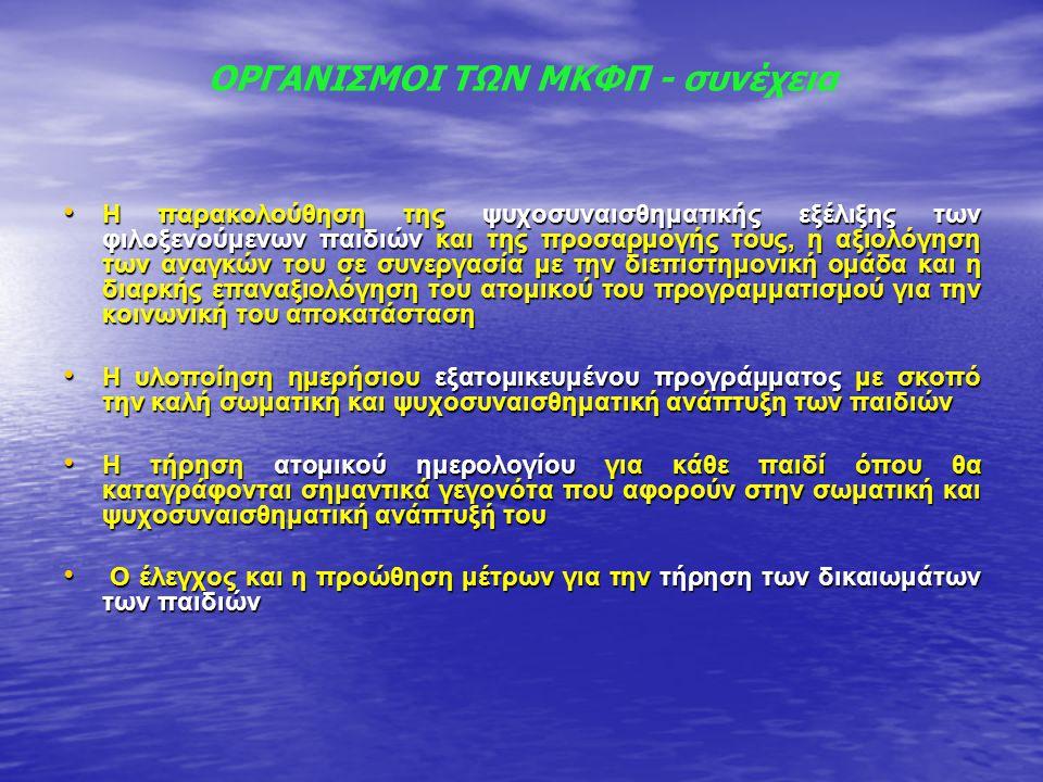 ΟΡΓΑΝΙΣΜΟΙ ΤΩΝ ΜΚΦΠ - συνέχεια