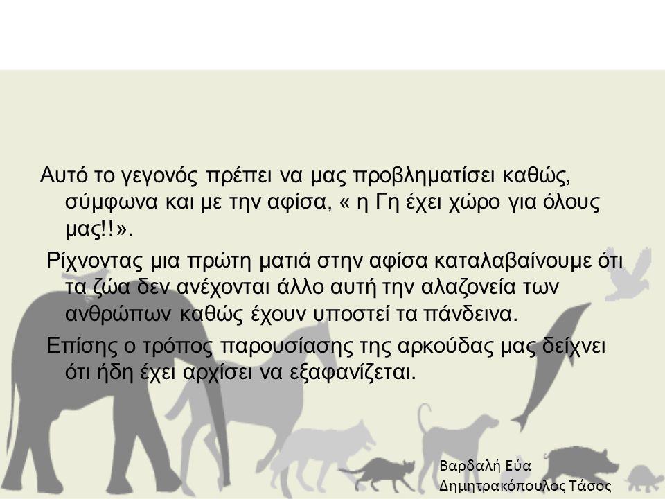 Αυτό το γεγονός πρέπει να μας προβληματίσει καθώς, σύμφωνα και με την αφίσα, « η Γη έχει χώρο για όλους μας!!». Ρίχνοντας μια πρώτη ματιά στην αφίσα καταλαβαίνουμε ότι τα ζώα δεν ανέχονται άλλο αυτή την αλαζονεία των ανθρώπων καθώς έχουν υποστεί τα πάνδεινα. Επίσης ο τρόπος παρουσίασης της αρκούδας μας δείχνει ότι ήδη έχει αρχίσει να εξαφανίζεται.