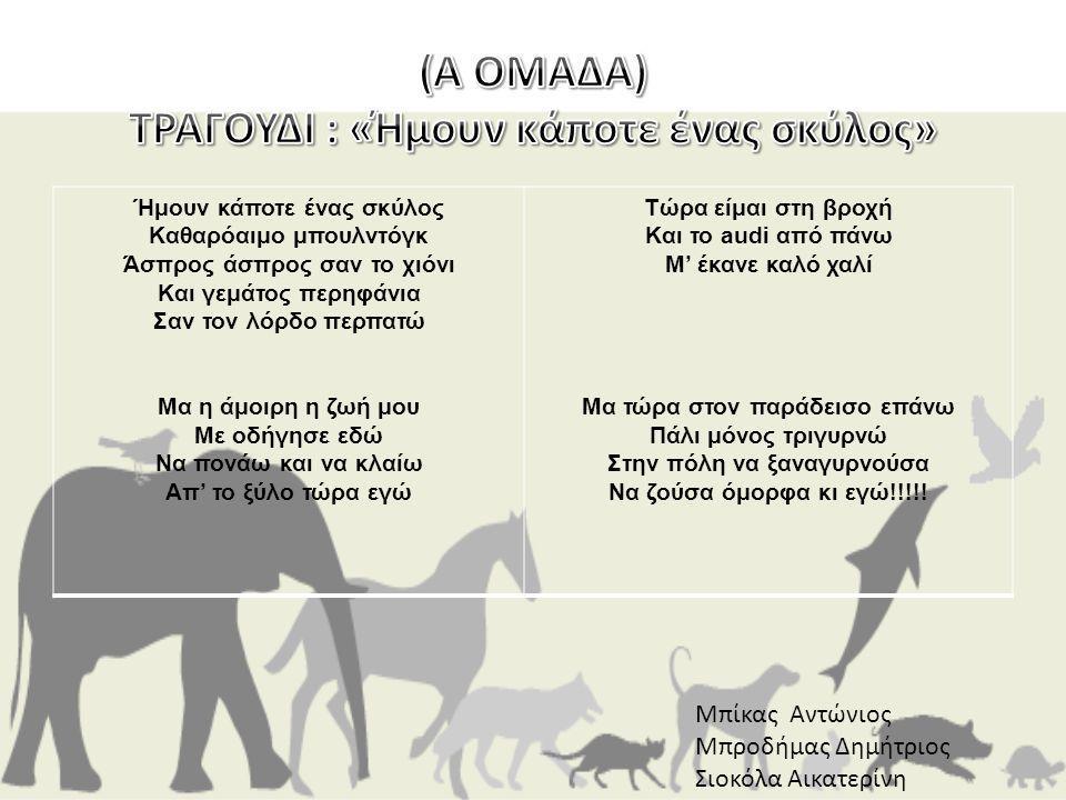 (Α ΟΜΑΔΑ) ΤΡΑΓΟΥΔΙ : «Ήμουν κάποτε ένας σκύλος»