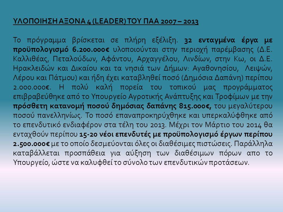 ΥΛΟΠΟΙΗΣΗ ΑΞΟΝΑ 4 (LEADER) ΤΟΥ ΠΑΑ 2007 – 2013