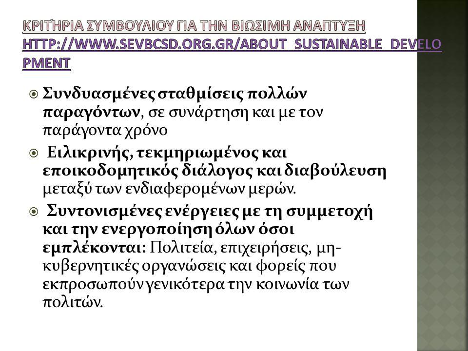 Κριτήρια ΣΥΜΒΟΥΛΙΟΥ ΓΙΑ ΤΗΝ ΒΙΩΣΙΜΗ ΑΝΑΠΤΥΞΗ http://www. sevbcsd. org