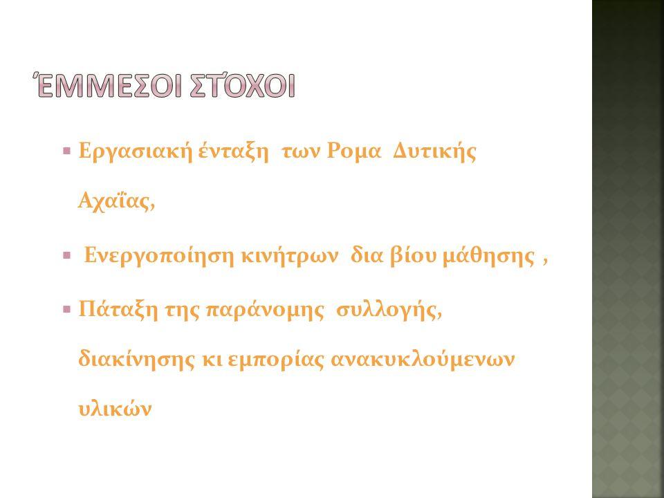 Έμμεσοι στόχοι Εργασιακή ένταξη των Ρομα Δυτικής Αχαΐας,