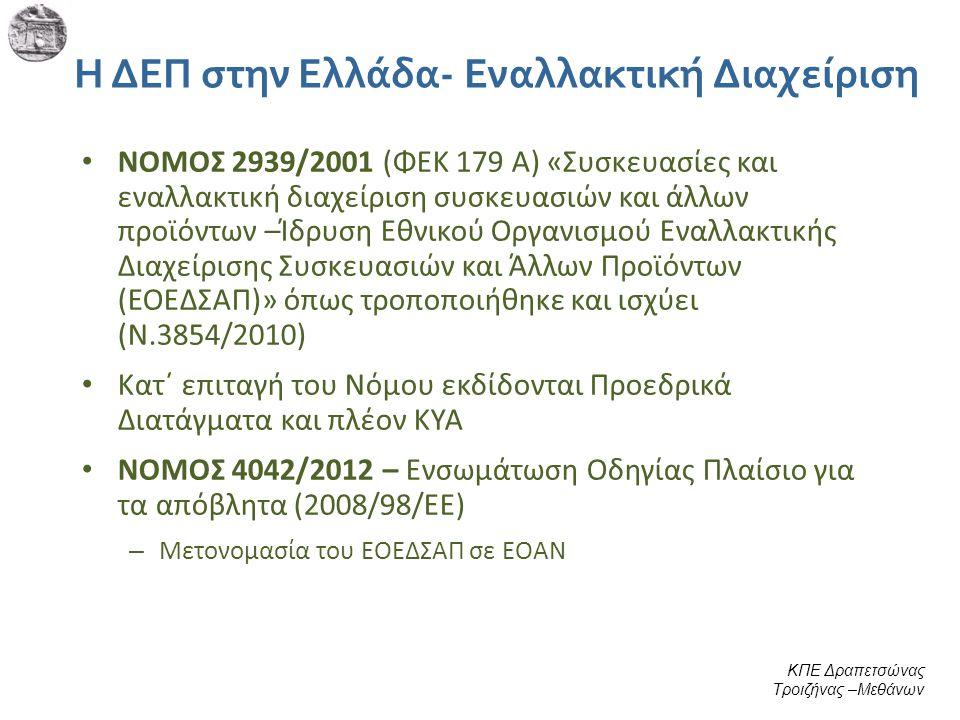 Η ΔΕΠ στην Ελλάδα- Εναλλακτική Διαχείριση