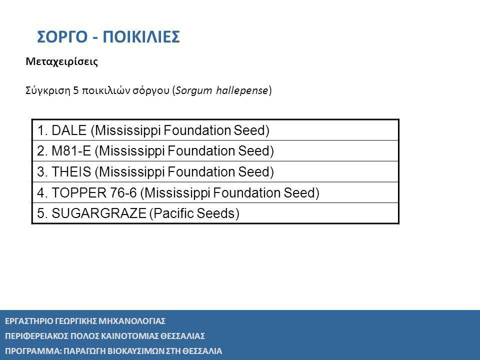 ΣΟΡΓΟ - ΠΟΙΚΙΛΙΕΣ 1. DALE (Mississippi Foundation Seed)