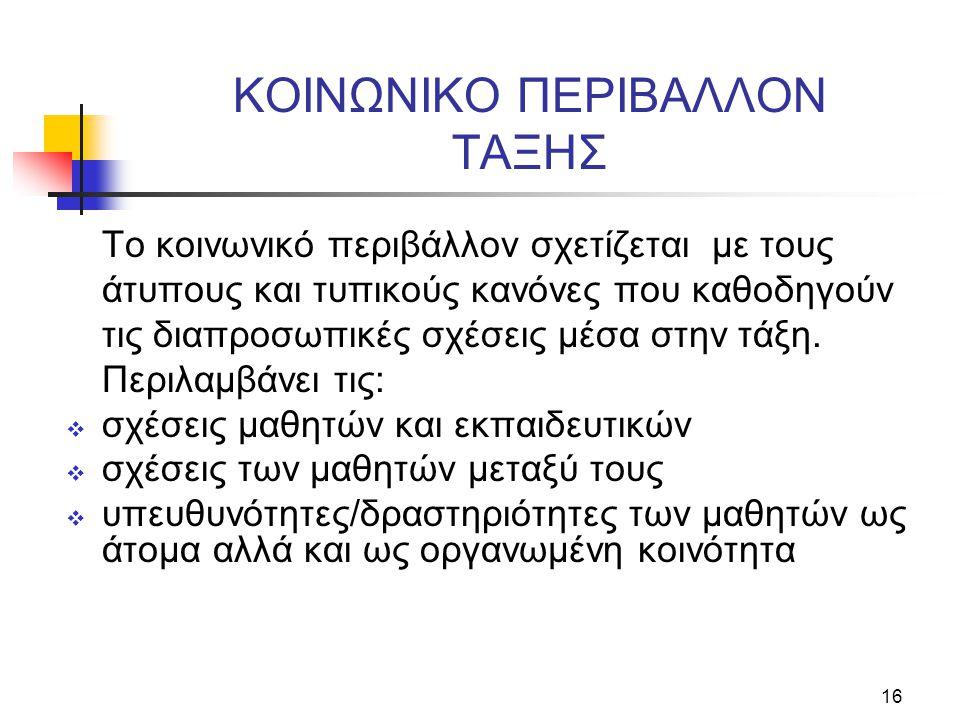 KOINΩNIKO ΠEPIBAΛΛON TAΞHΣ