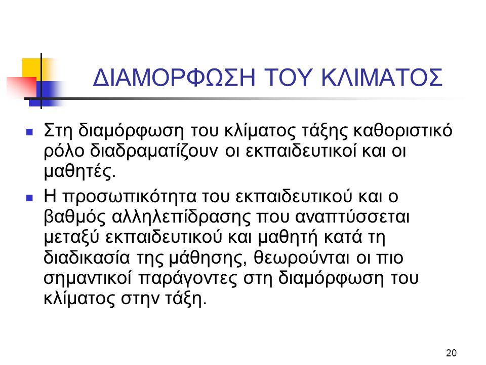 ΔIAMOPΦΩΣH TOY KΛIMATOΣ