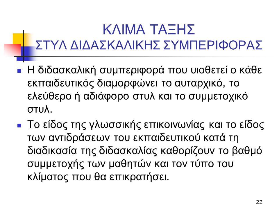 ΚΛΙΜΑ ΤΑΞΗΣ ΣΤΥΛ ΔΙΔΑΣΚΑΛΙΚΗΣ ΣΥΜΠΕΡΙΦΟΡΑΣ