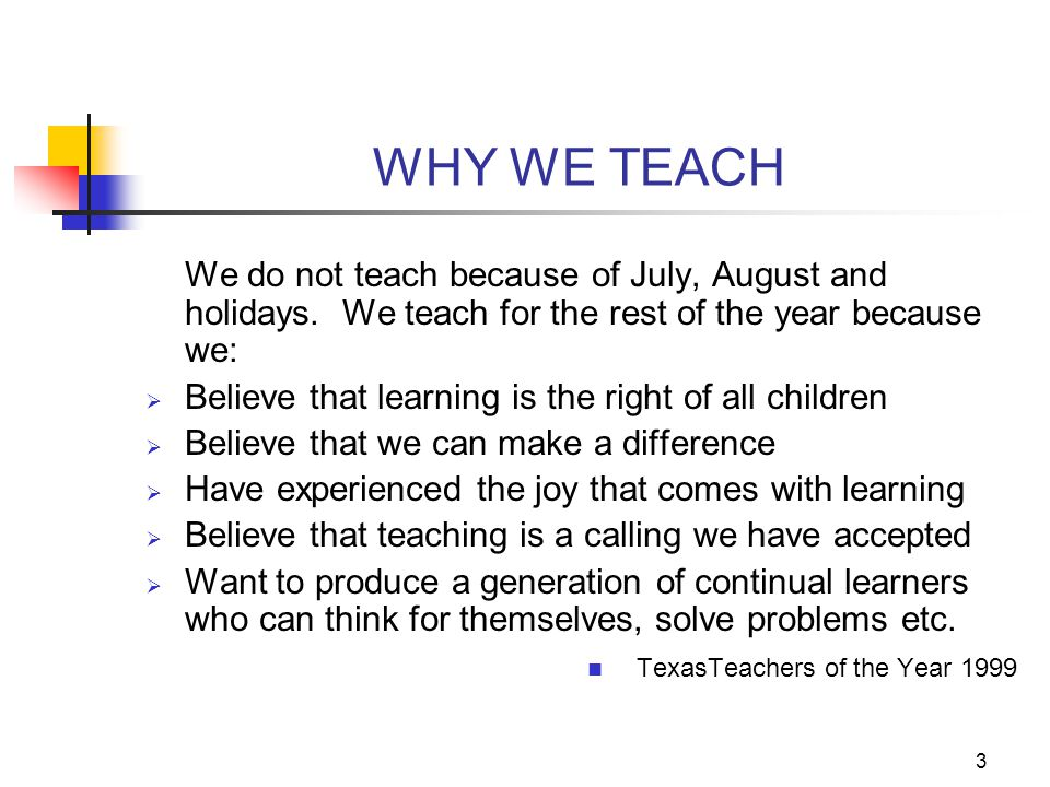 WHY WE TEACH We do not teach because of July, August and holidays. We teach for the rest of the year because we: