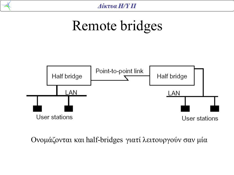 Remote bridges Ονομάζονται και half-bridges γιατί λειτουργούν σαν μία
