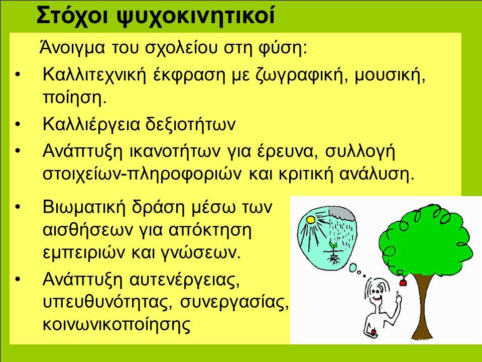 Στόχοι ψυχοκινητικοί Άνοιγμα του σχολείου στη φύση: