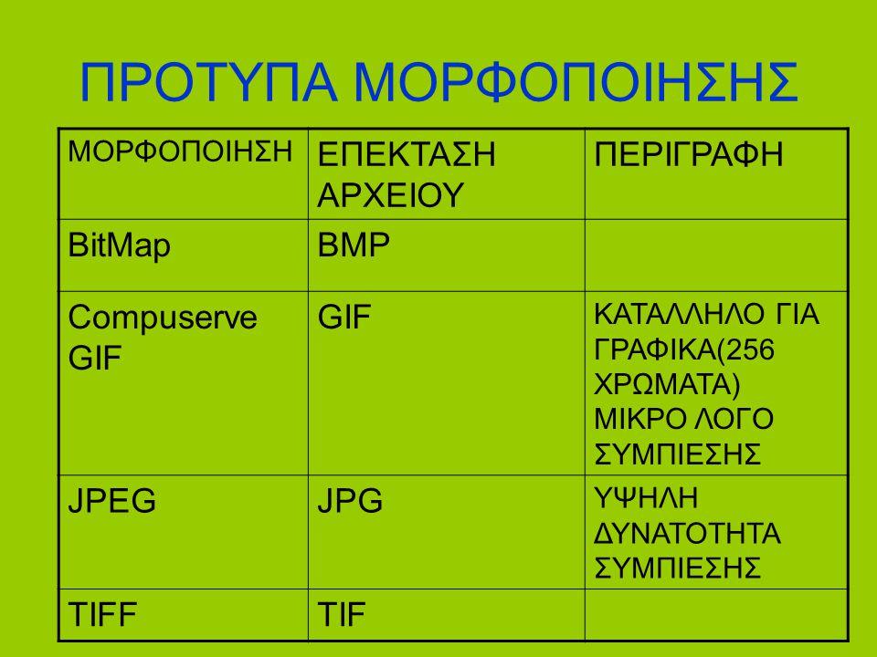 ΠΡΟΤΥΠΑ ΜΟΡΦΟΠΟΙΗΣΗΣ ΕΠΕΚΤΑΣΗ ΑΡΧΕΙΟΥ ΠΕΡΙΓΡΑΦΗ BitMap BMP