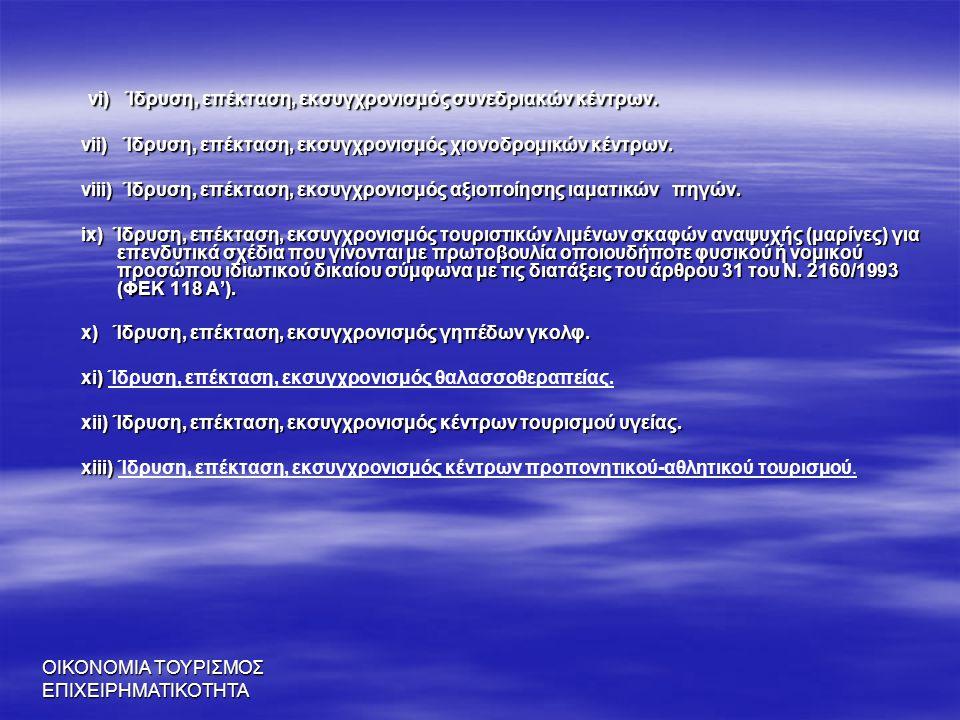 vi) Ίδρυση, επέκταση, εκσυγχρονισμός συνεδριακών κέντρων.