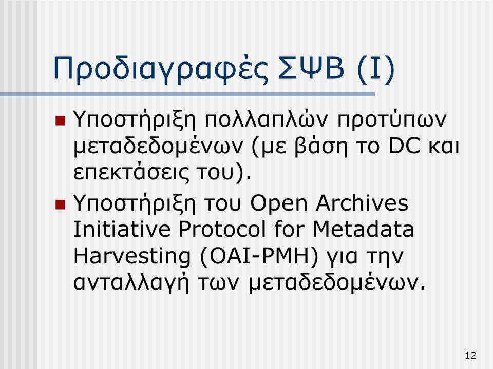 Προδιαγραφές ΣΨΒ (Ι) Υποστήριξη πολλαπλών προτύπων μεταδεδομένων (με βάση το DC και επεκτάσεις του).