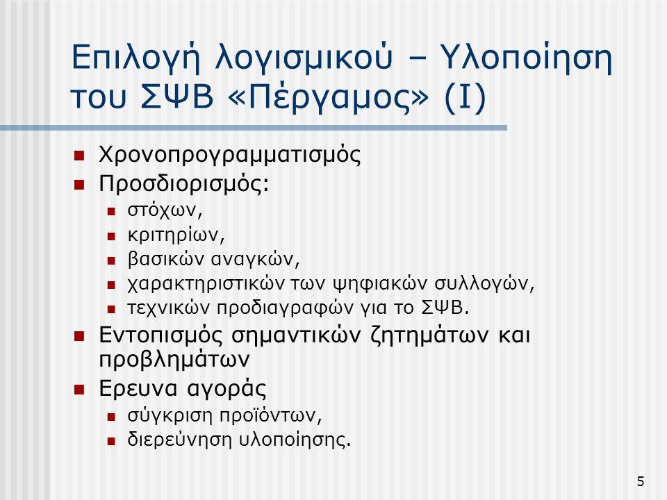 Επιλογή λογισμικού – Υλοποίηση του ΣΨΒ «Πέργαμος» (Ι)