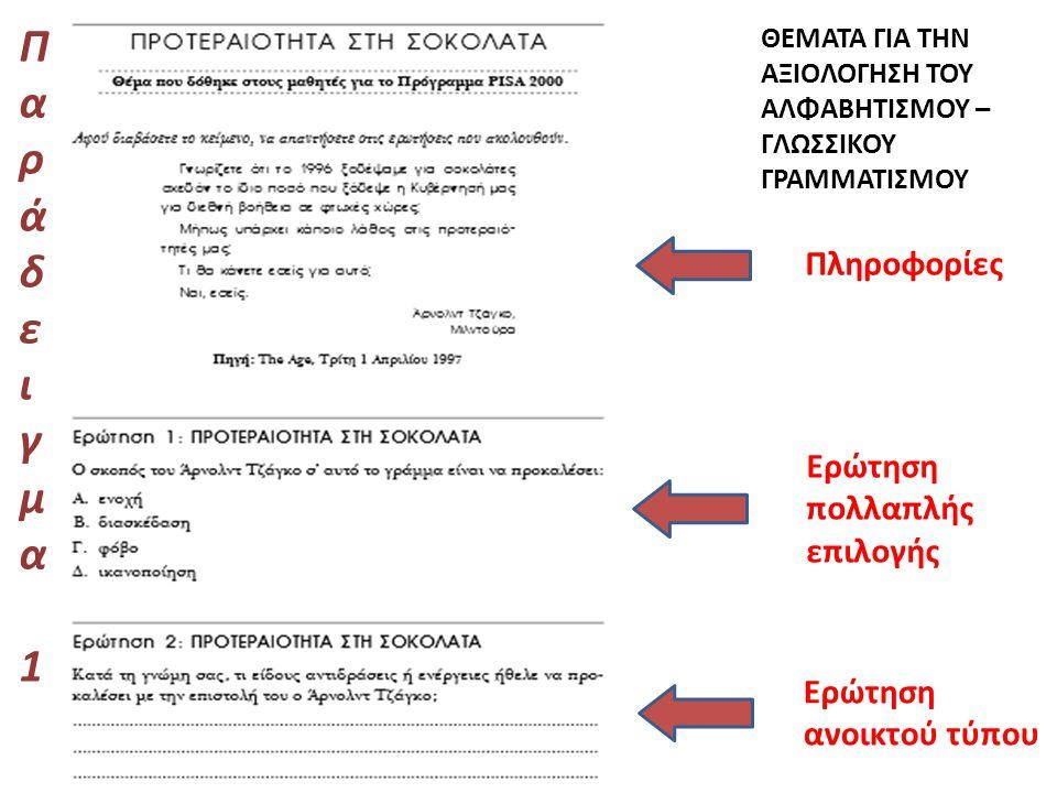 Παράδειγμα 1 Πληροφορίες Ερώτηση πολλαπλής επιλογής