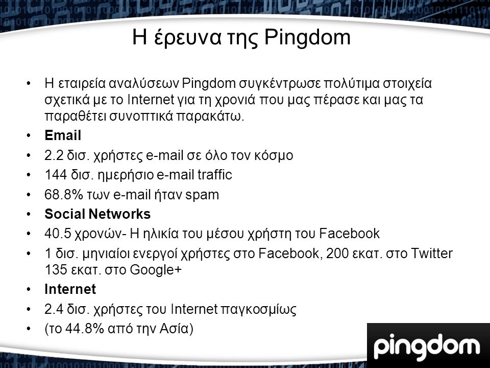H έρευνα της Pingdom