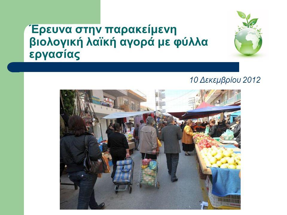 Έρευνα στην παρακείμενη βιολογική λαϊκή αγορά με φύλλα εργασίας